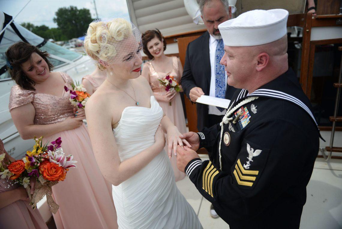 Wedding bride receiving ring