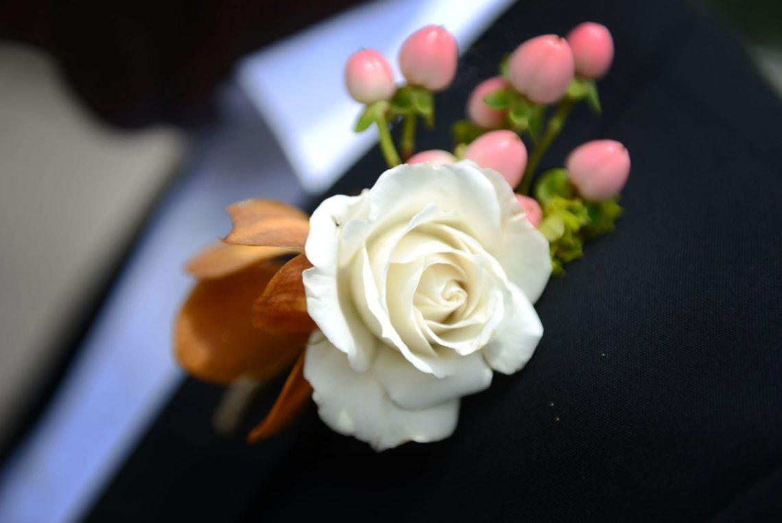 Wedding detail white boutonniere