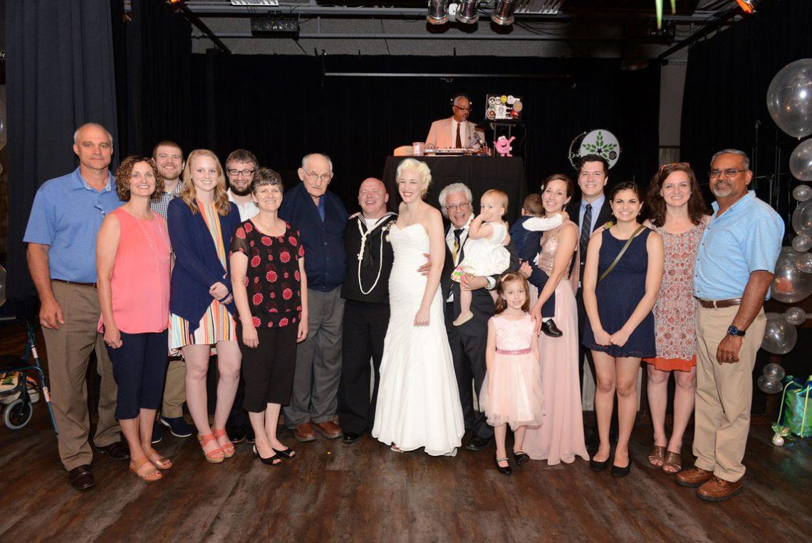 Wedding group reception photo