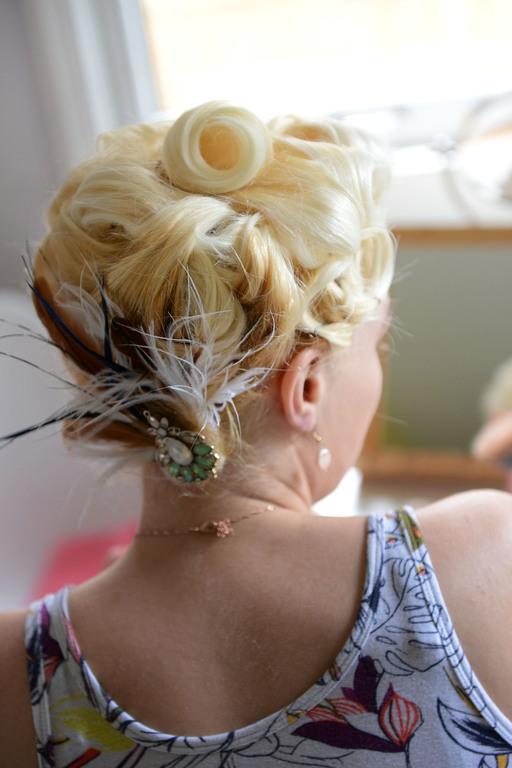 Wedding prep bridal hair decoration