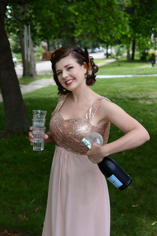 Wedding prep bridesmaid with drinks