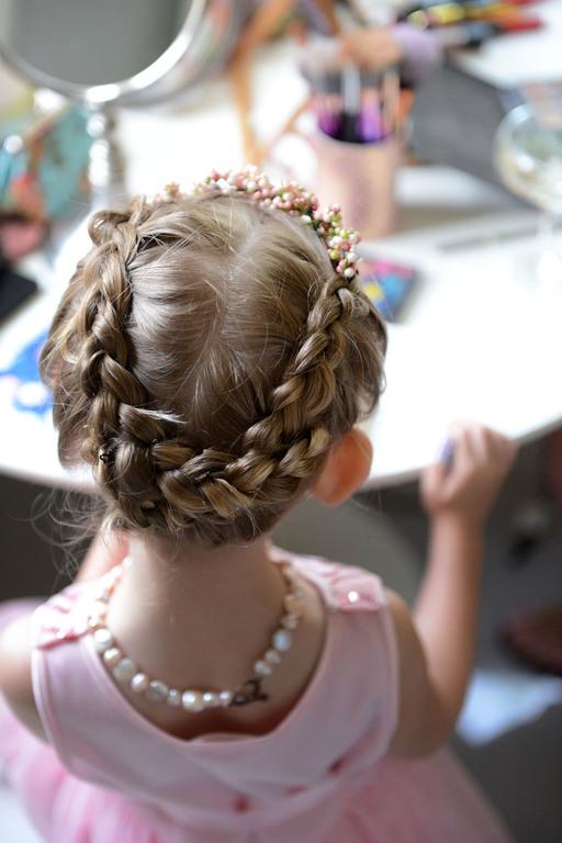 Wedding prep flower girl hair