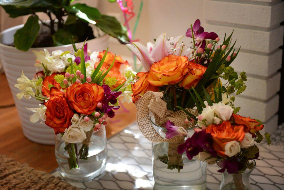 Wedding prep flowers