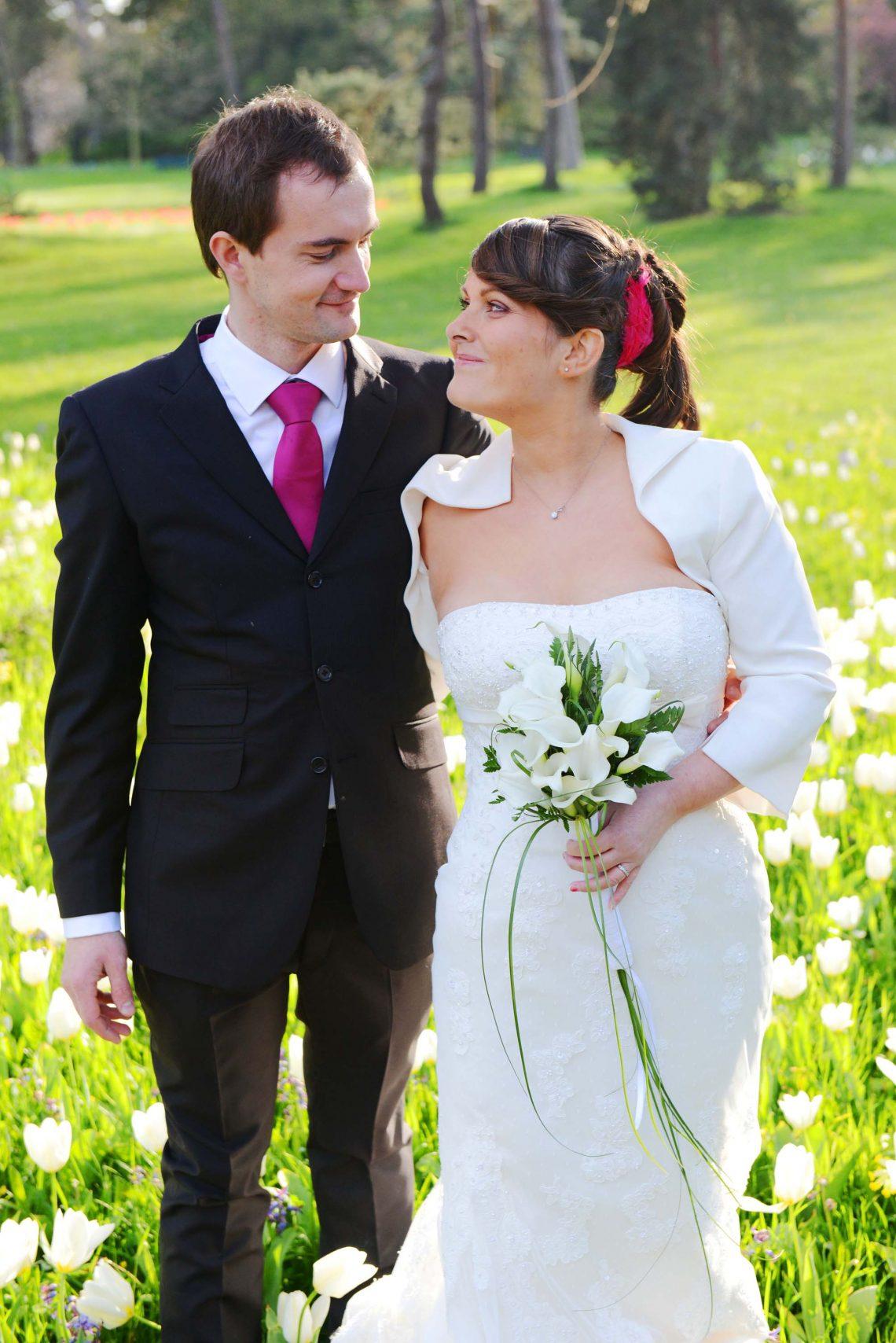 Wedding M&S in a field of flowers